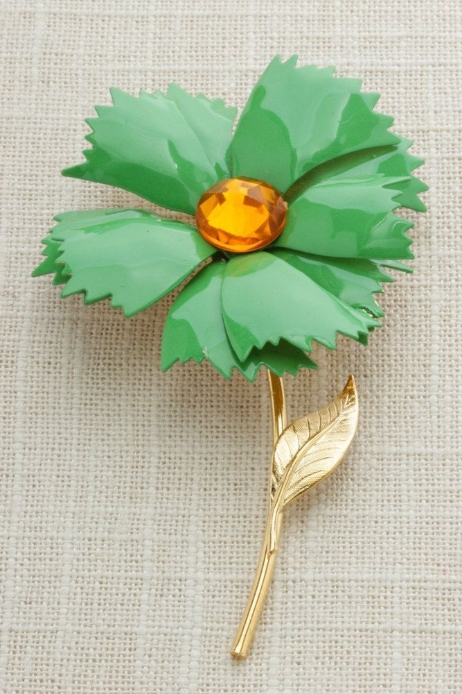 """Green Vintage Brooch 1960s Enamel Flower Pin 4"""" Gold Jewelry Yellow Stone 16A #Unbranded"""