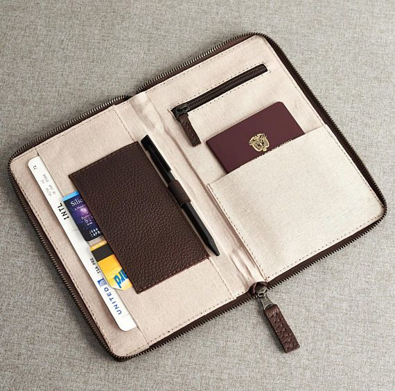c33437aebf70 Dark Brown Leather Travel Document Organizer, Men Passport Wallet ...