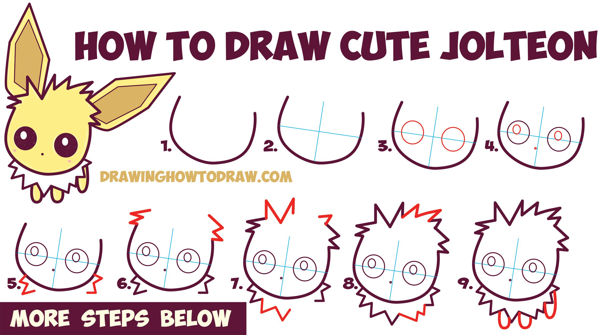 How To Draw Cute Kawaii Chibi Jolteon From Pokemon Easy Step By Step Drawing Tutorial For Kids How To Draw Step By Step Drawing Tutorials Drawing Tutorials For