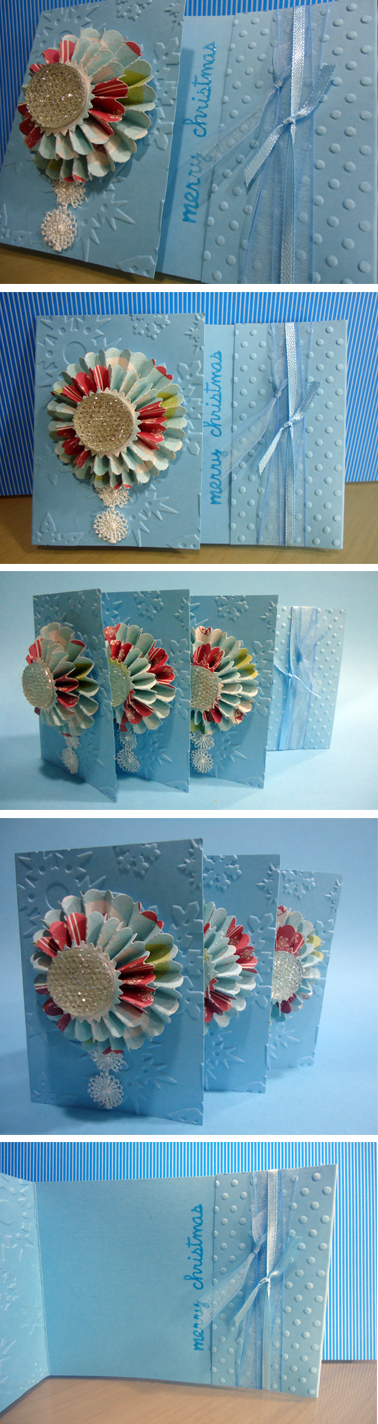 """Cartão de Natal """"Merry Christmas"""" em tons azuis com Rosetas 3D. Cartão de Natal feito à mão com Merry Christmas. Made by EstudioDePapel https://www.etsy.com/pt/listing/210641704/cartao-de-natal-merry-christmas-em-tons?ref=shop_home_active_1"""