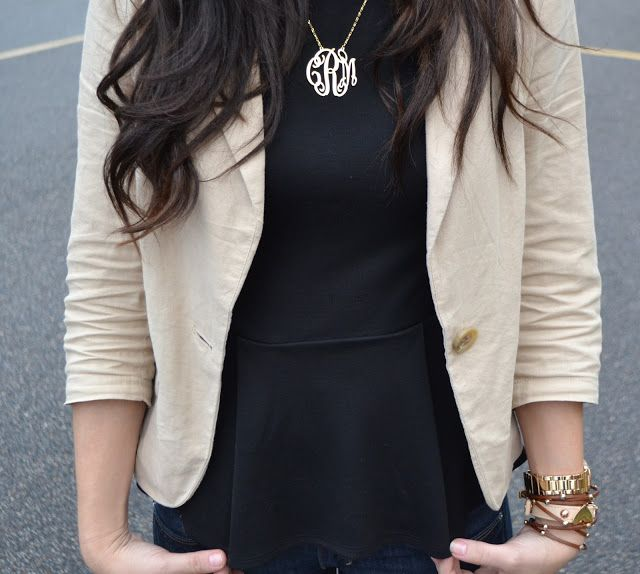 peplum and monogram