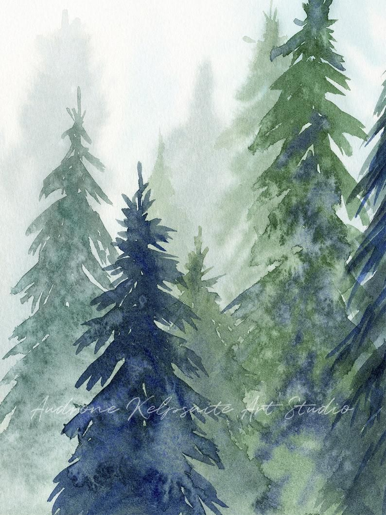 Forest Printable Wall Art Set of 2, Watercolor Eve