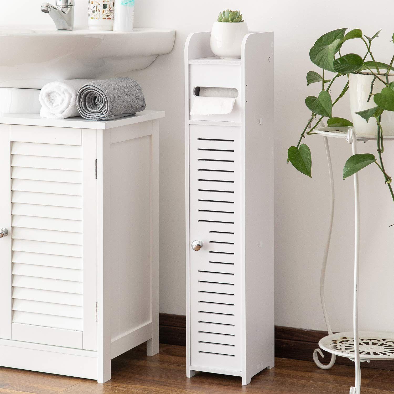 Aojezor Small Bathroom Storage Corner Floor Cabinet With Doors And