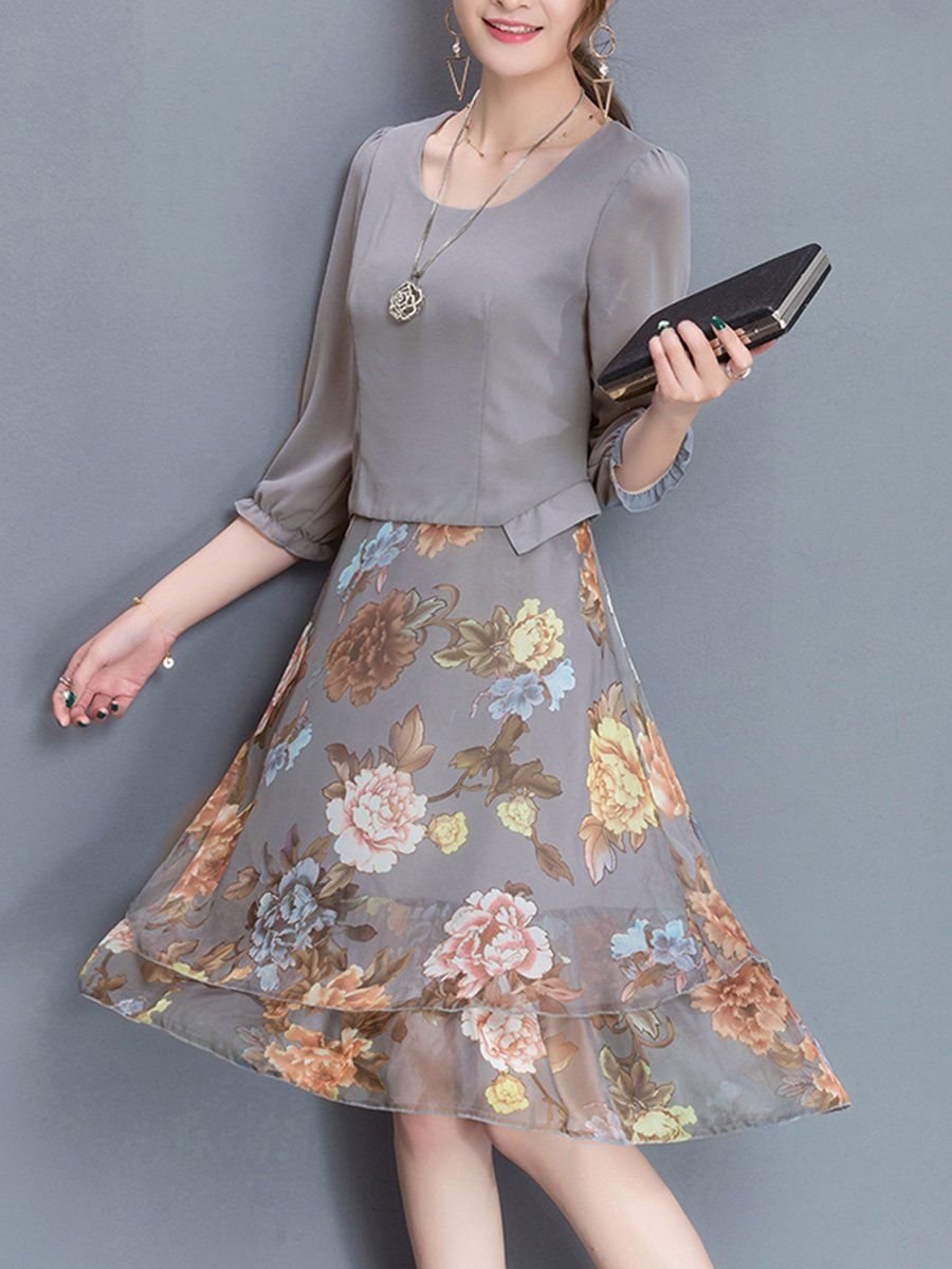 Women Floral Printed Chiffon Skater Dress – hellocloth f17ba71c4