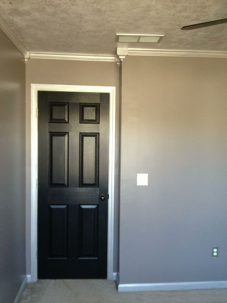 Black Painted Trim And Doors Sherwin Williams Paint The Doors Are Tricorn Black Walls Are M Black Interior Doors Black Walls Bedroom Painted Interior Doors