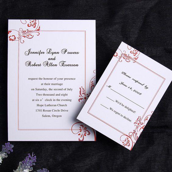 Simple Wedding Invitation Wording: Austere Simple Wedding Invitation IWI106