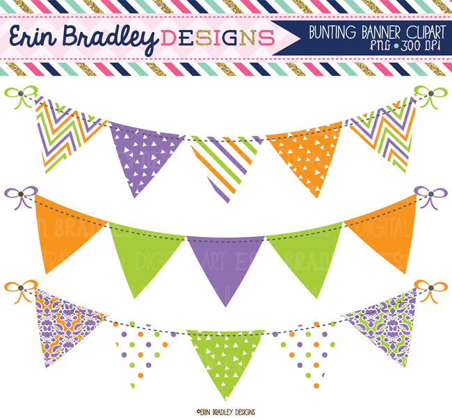 Purple Orange Green Bunting Clipart Set Instant Download Commercial Use Clip Art Graphics Banner Clip Art Clip Art Digital Clip Art
