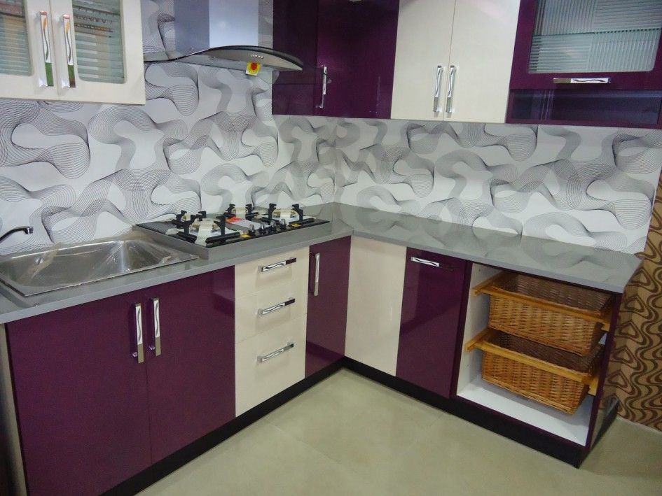 Kitchen Overwhelming Purple White Wooden Laminate Kitchen