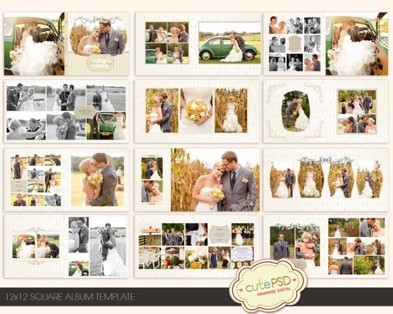 Instant Download 12x12 Square Wedding Album Template Cpz022