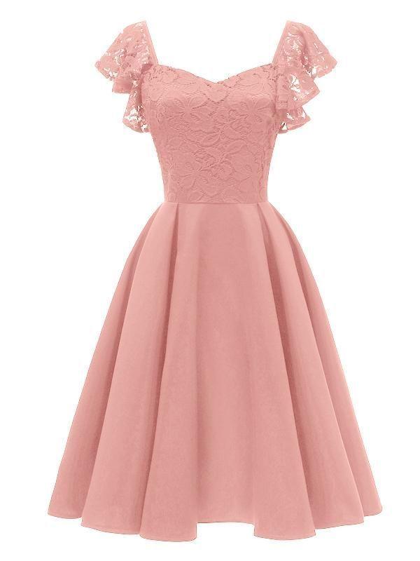 LaceShe Women's Elegant Cocktail A-line Lace Dress