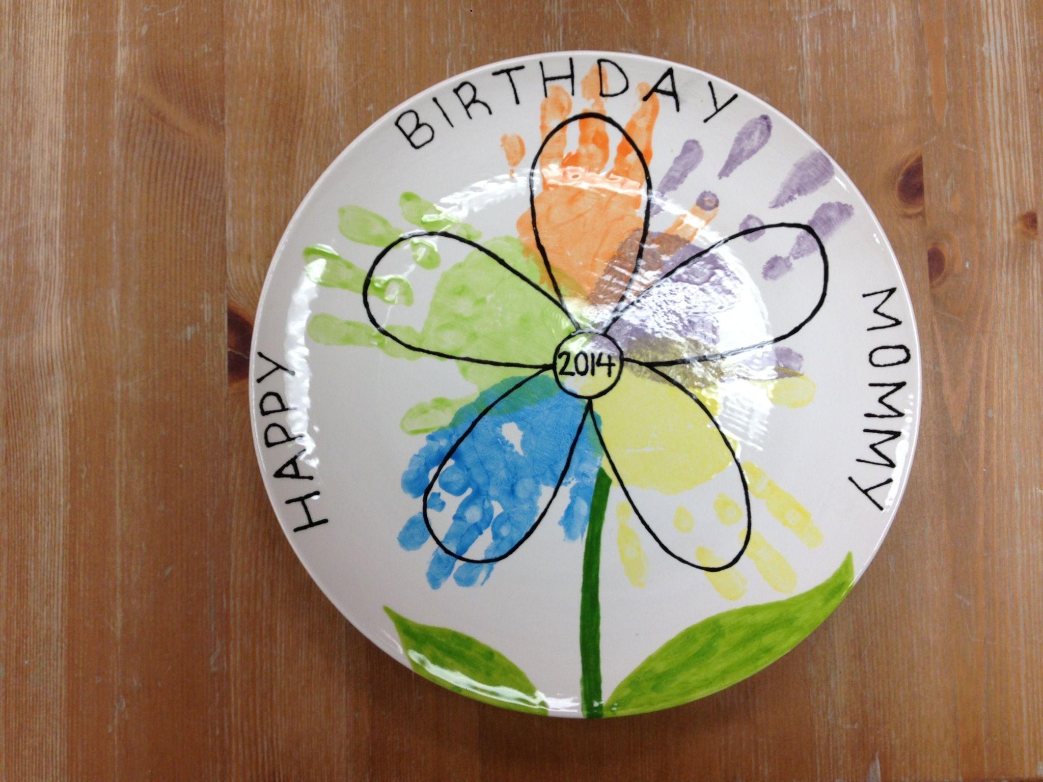 Ceramic plate with handprint flower design for mom made for Handprint ceramic plate ideas