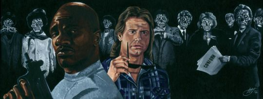 """You, you're okay. This One: Real Fuckin Ugly.    20 x 8""""    Acrylic on canvas.    Prints available at @herocomplexgallery for the Invasion! exhibition.    Inspired by They Live."""