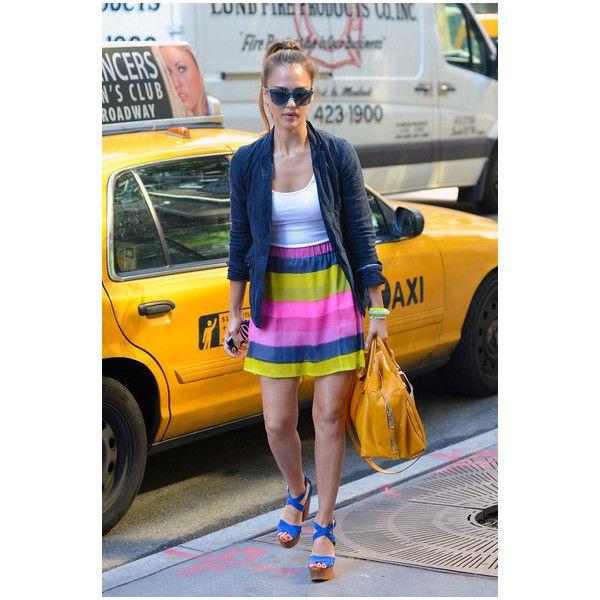 Jessica Alba is Colorful in NYC found on Polyvore