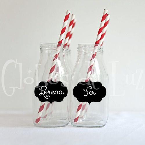 Chalkboard Stickers / Etiquetas de pizarrón para vasos y copas / Ideas originales para bodas y fiestas / Detalles para bodas / Globos de Luz / www.globosdeluz.com