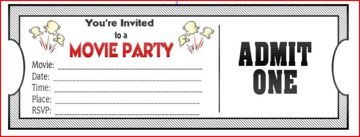 Movie Ticket Birthday Invitations Printable  ChildrenS Ministry