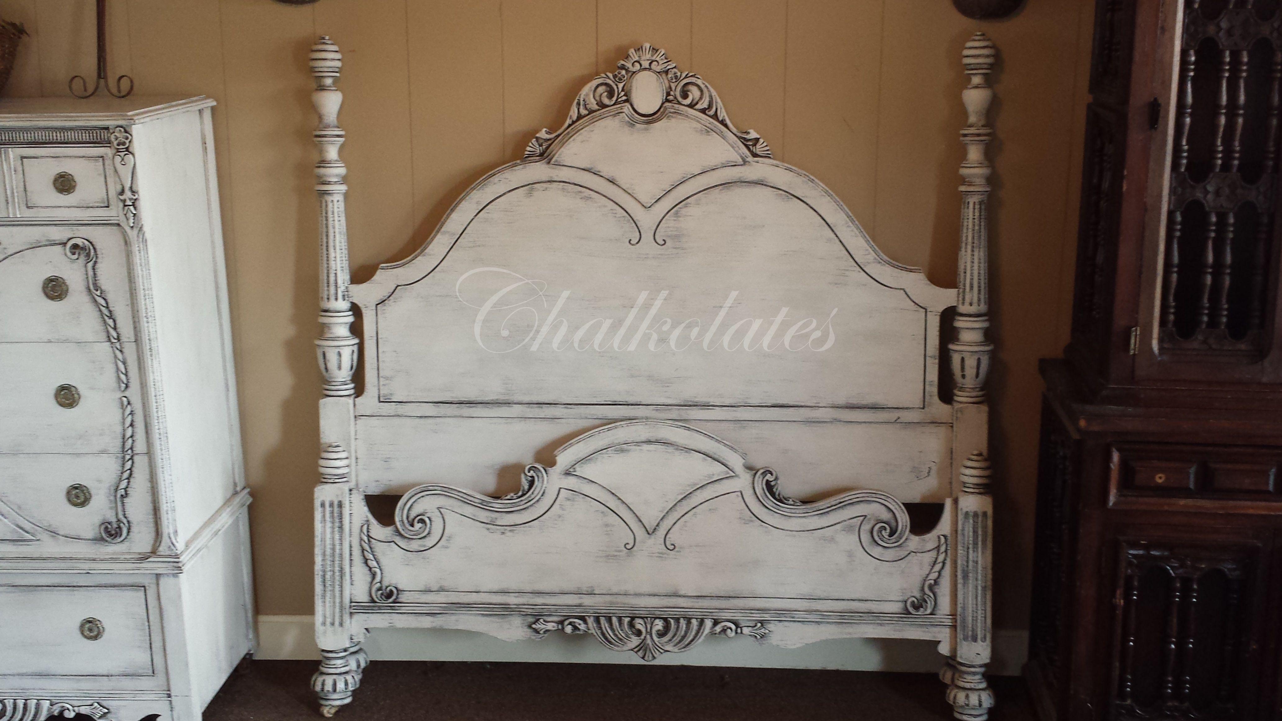 Custom painted bed. (shabby, white, distressed, glazed