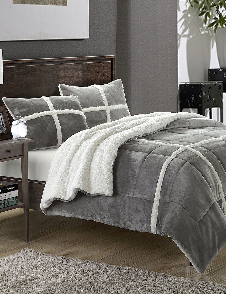 Chic Home Design Chloe Silver 3-pc. Sherpa Lined Microsuede Comforter Set