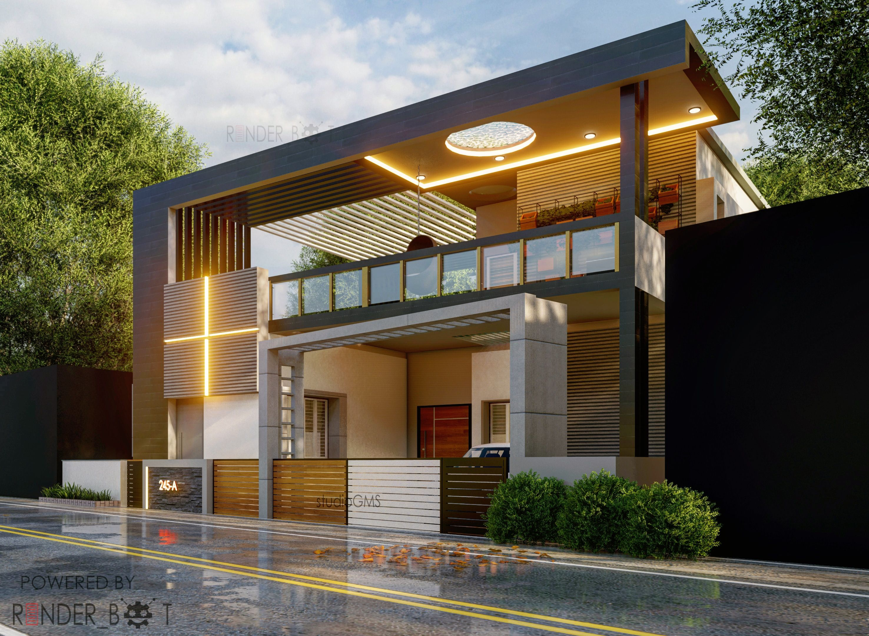 16 Awesome House Elevation Designs: Contemporary Elevation With Beautiful Cove Lighting Https
