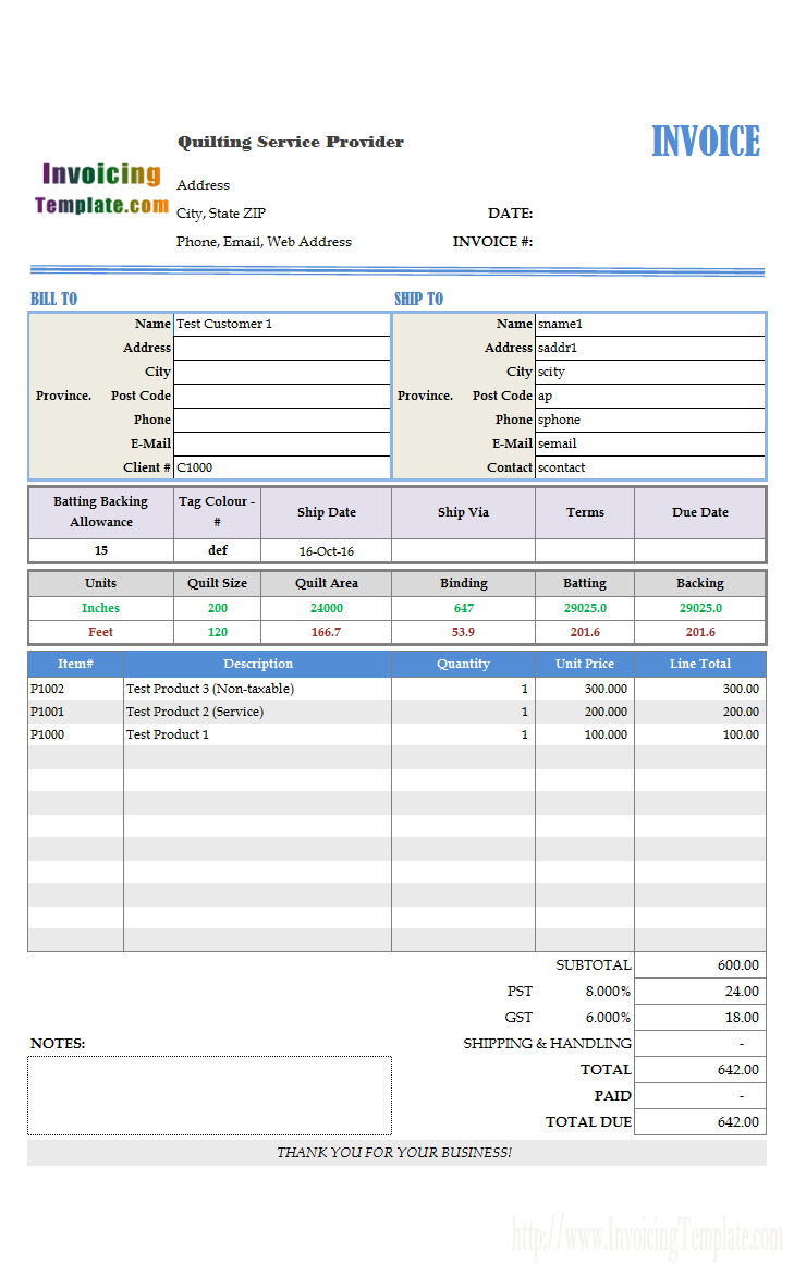 bill format for quilting service