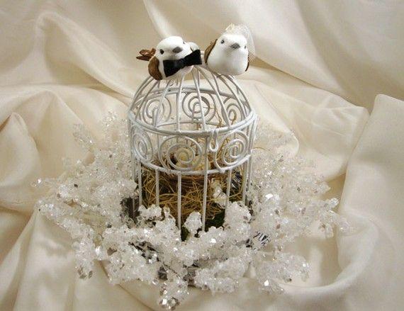 Winter Wedding Cake Topper Birdcage And Nest Woodland By Oromeo