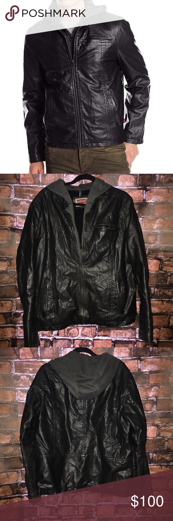 Levi S Faux Leather Jacket With Hood Leather Jacket With Hood Leather Jacket Jackets For Women [ 1740 x 580 Pixel ]