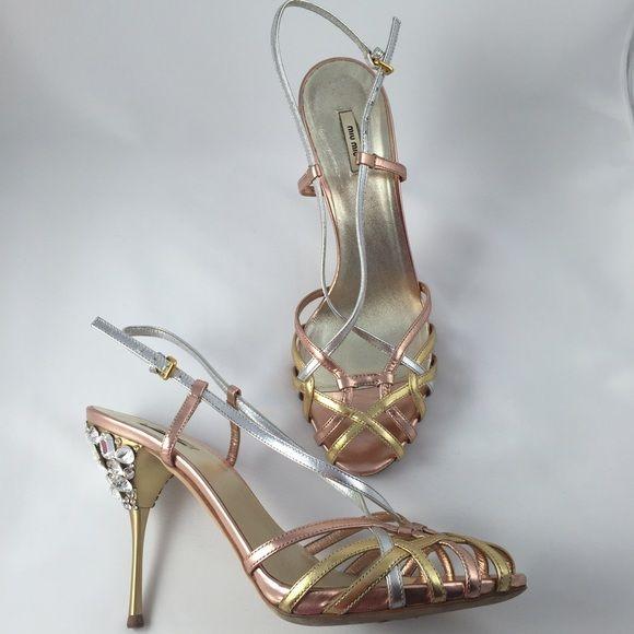 686826b093a Miu Miu Heels. Silver RosesRose GoldStrappy ...