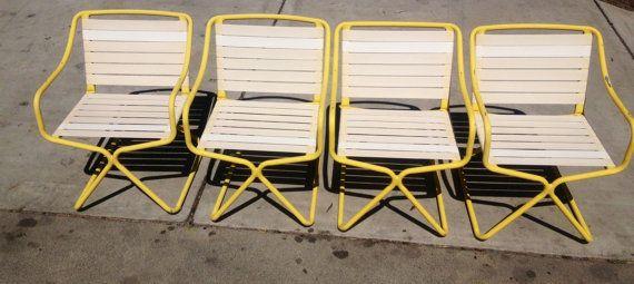 Super Brown Jordan Kailua Patio Set In Bright Yellow Vintage Machost Co Dining Chair Design Ideas Machostcouk