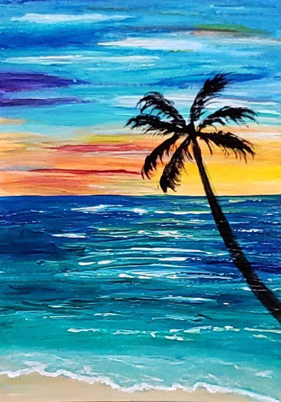 ACEO Original miniature Art Card Painting, Seascape Ocean ...