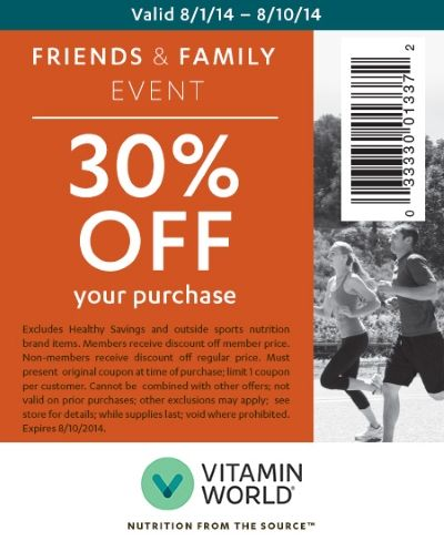 Vitamin World Friends & Family Event- 30% off *