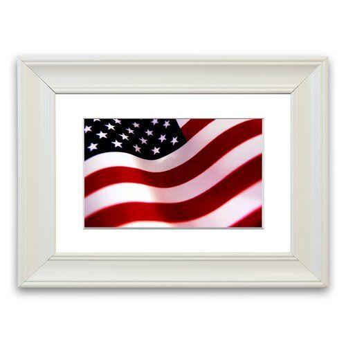 Gerahmtes Poster Amerikanische Flagge East Urban Home Größe: 40 cm H x 50 cm B, Rahmenart: Weiß