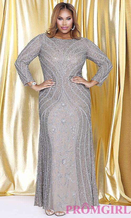 Long Sleeve Silver Sequin Plus Size Prom Dress in 2019 ...