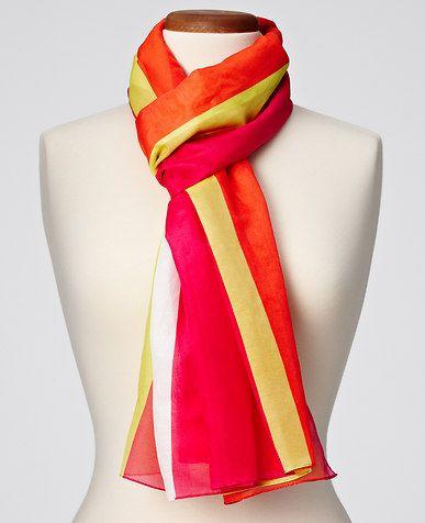 Colorblock Cotton/Silk Scarf