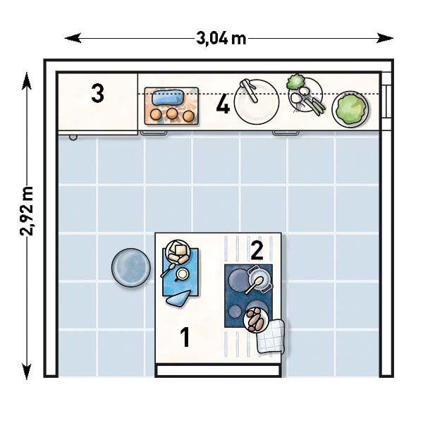 Distribuir una cocina de 9 metros cocinas planos y casa for Cocina 3 metros