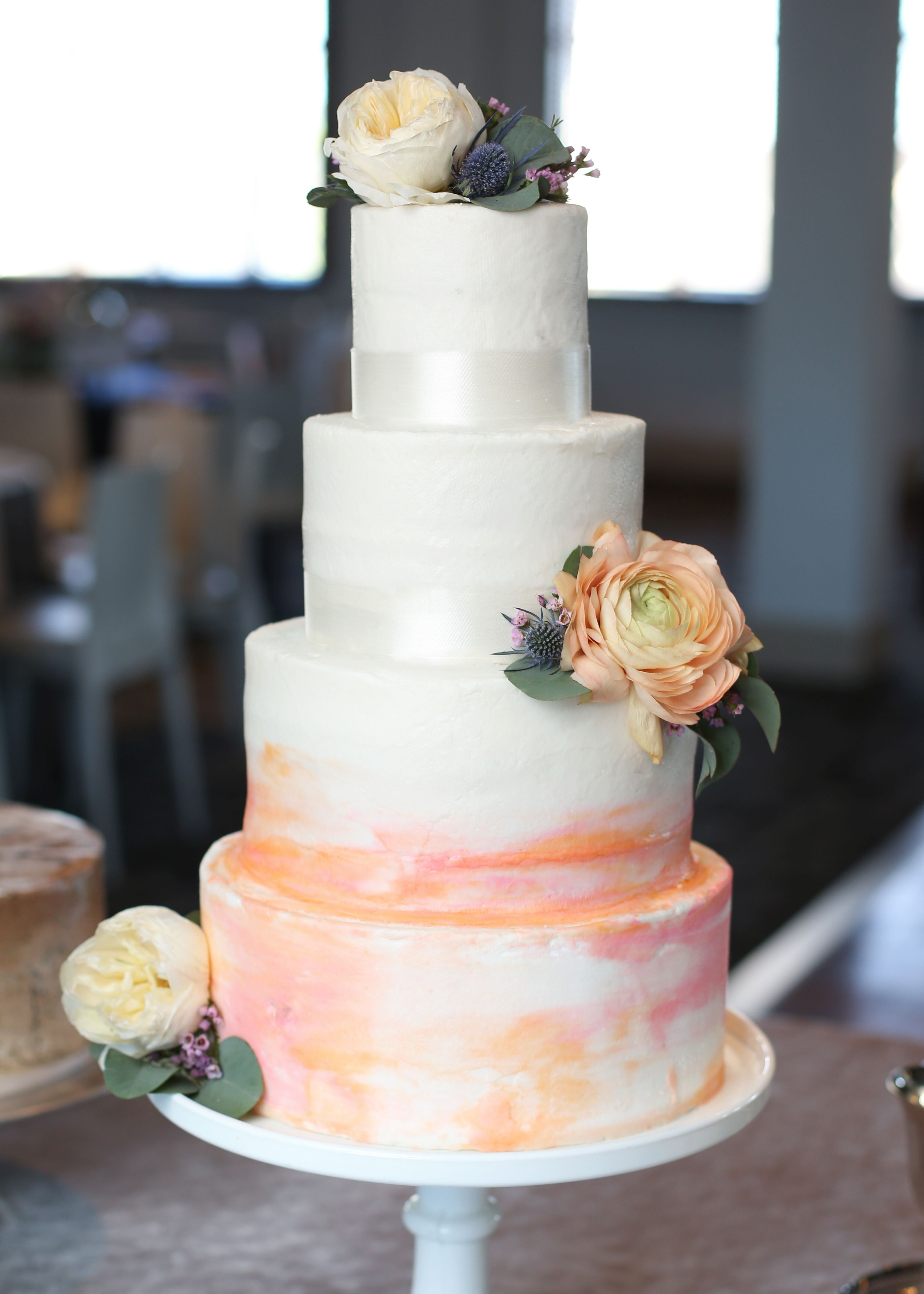 Pink Peach And Blush Watercolor Wedding Cake By Brown Egg Bakery