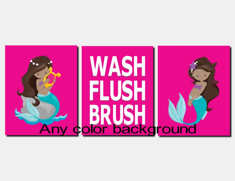 Kids mermaid bathroom decor - Mermaid Bathroom Art Kids Bathroom Art Pink Mermaids Wash Brush Flush Toddler Girls Bathroom Decor Nautical Bathroom Art Set Of 3