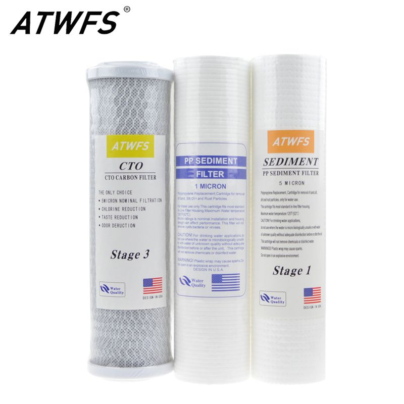 Atwfs 10 Inch Water Purifier Filter 5 Micron Pp Cotton Filter 1 Micron Pp Filter Activated Water Purifier Reverse Osmosis Water Filter Charcoal Water Filter