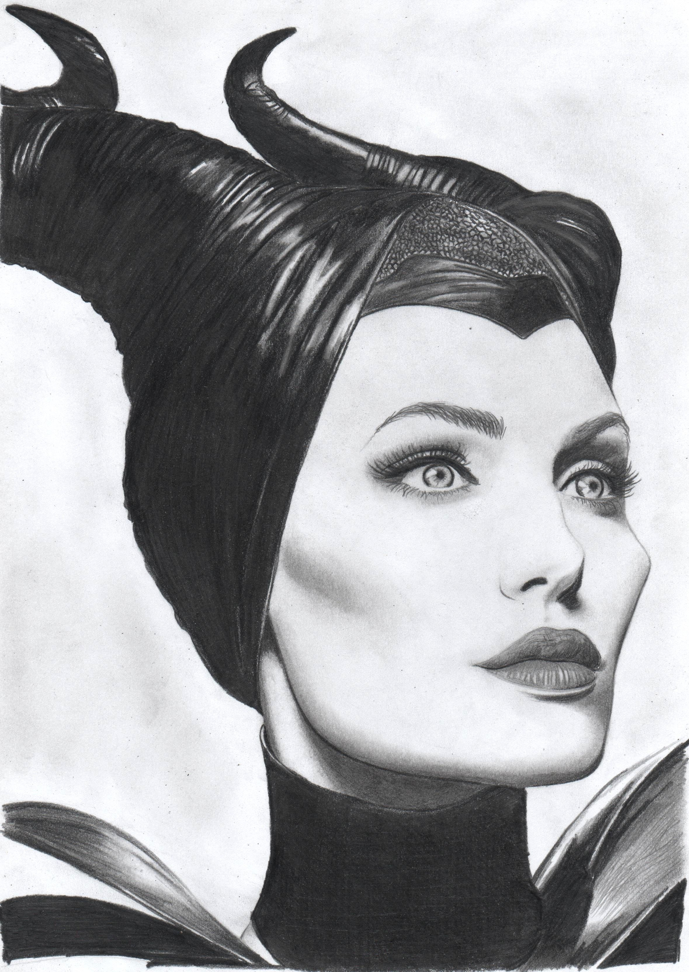 Maleficent pencil on paper fb https www facebook