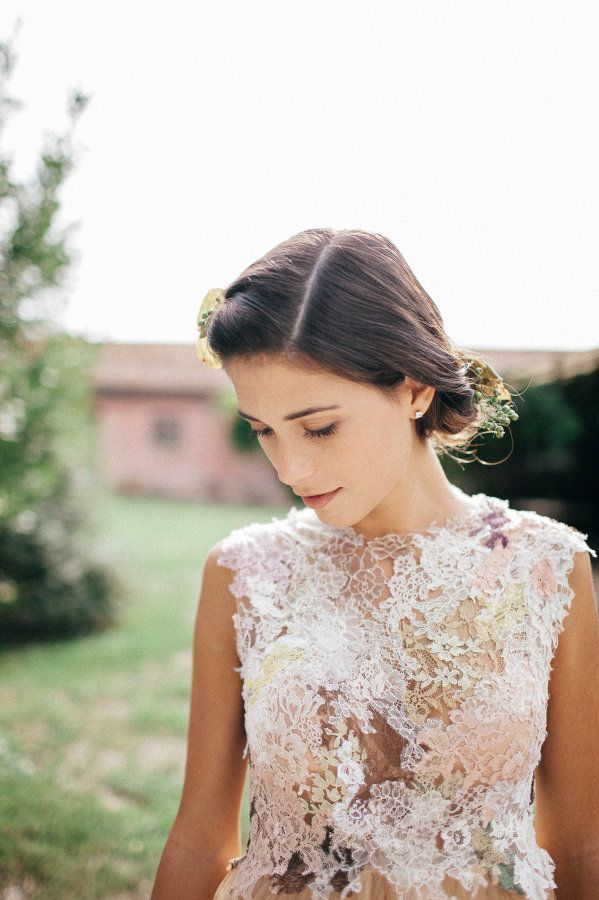 Colorful floral lace wedding dress: http://www.stylemepretty.com/destination-weddings/italy-weddings/2015/12/07/rustic-tuscan-wedding-inspiration/ | Photography: Igloo Photo - http://www.igloophotoblog.com/about-us/