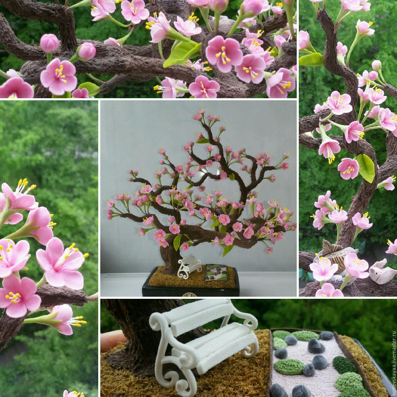 Купить Бонсай сакура со скамеечкой - розовый, бонсай сакура, бонсай ручной работы