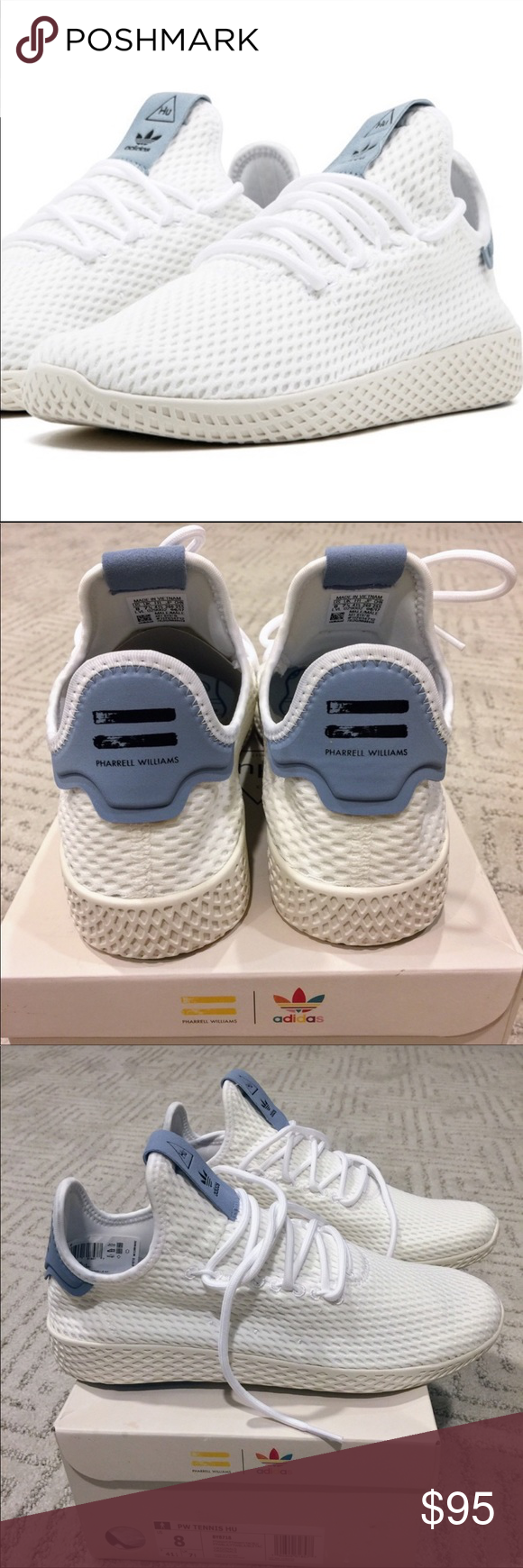 Adidas Pharrell Williams Tennis Hu BNWB adidas originals PW Tennis Hu. Size  8. White blue 6bf5651e01e