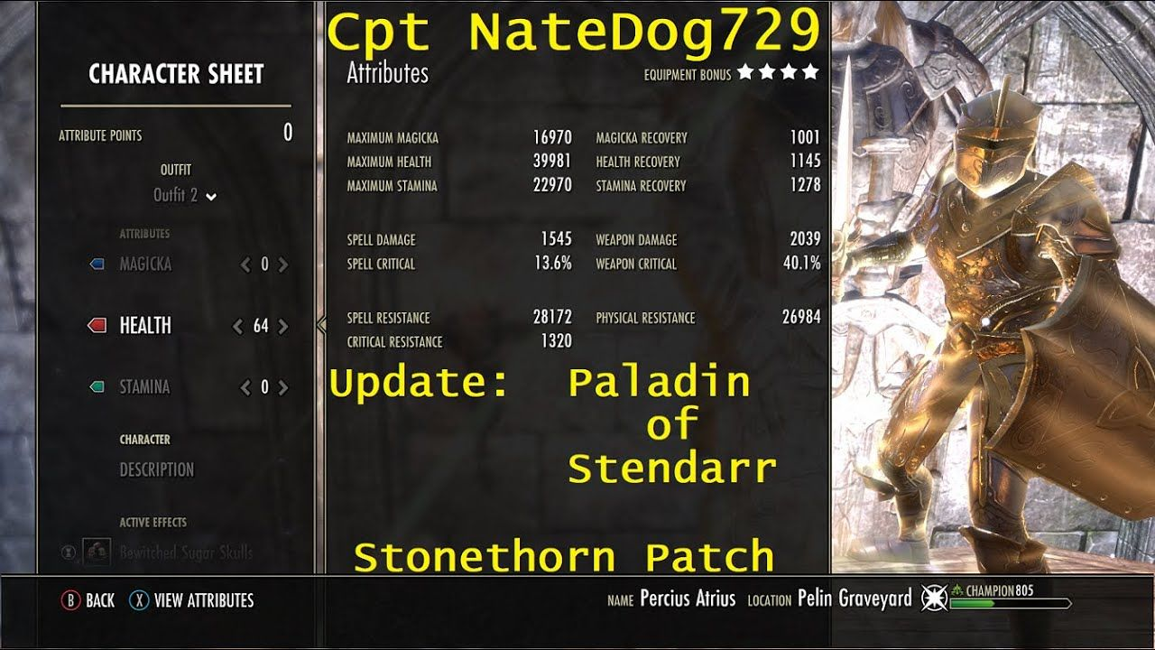 Update Eso Paladin Of Stendarr Templar Tank Dps Pve Build Stonethorn Paladin Character Sheet Tank
