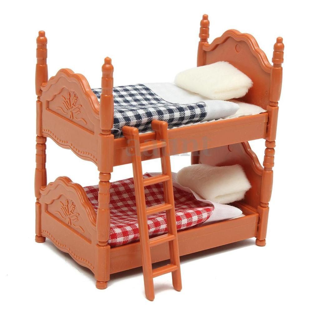 Doll House Miniature Plastic Bunk Bed Furniture Set Kids Role Pretend Toy  US a