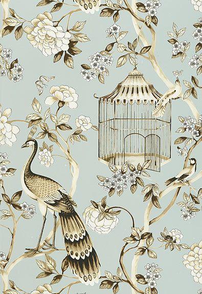 Schumacher Wallpaper Oiseaux et Fleurs Mineral 5004080 in ...