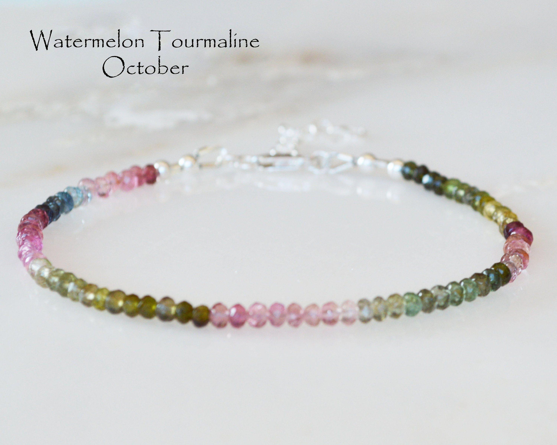 Watermelon tourmaline genuine gemstone October birthstone sterling silver stackable bracelet
