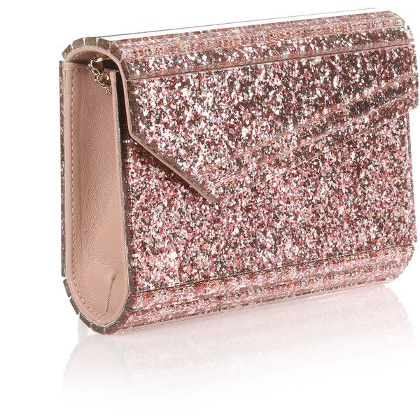 Jimmy Choo Candy Pink Glitter Clutch 570 Liked On Polyvore Featuring Bags Handbags Clutches Crossbody Purse Leather