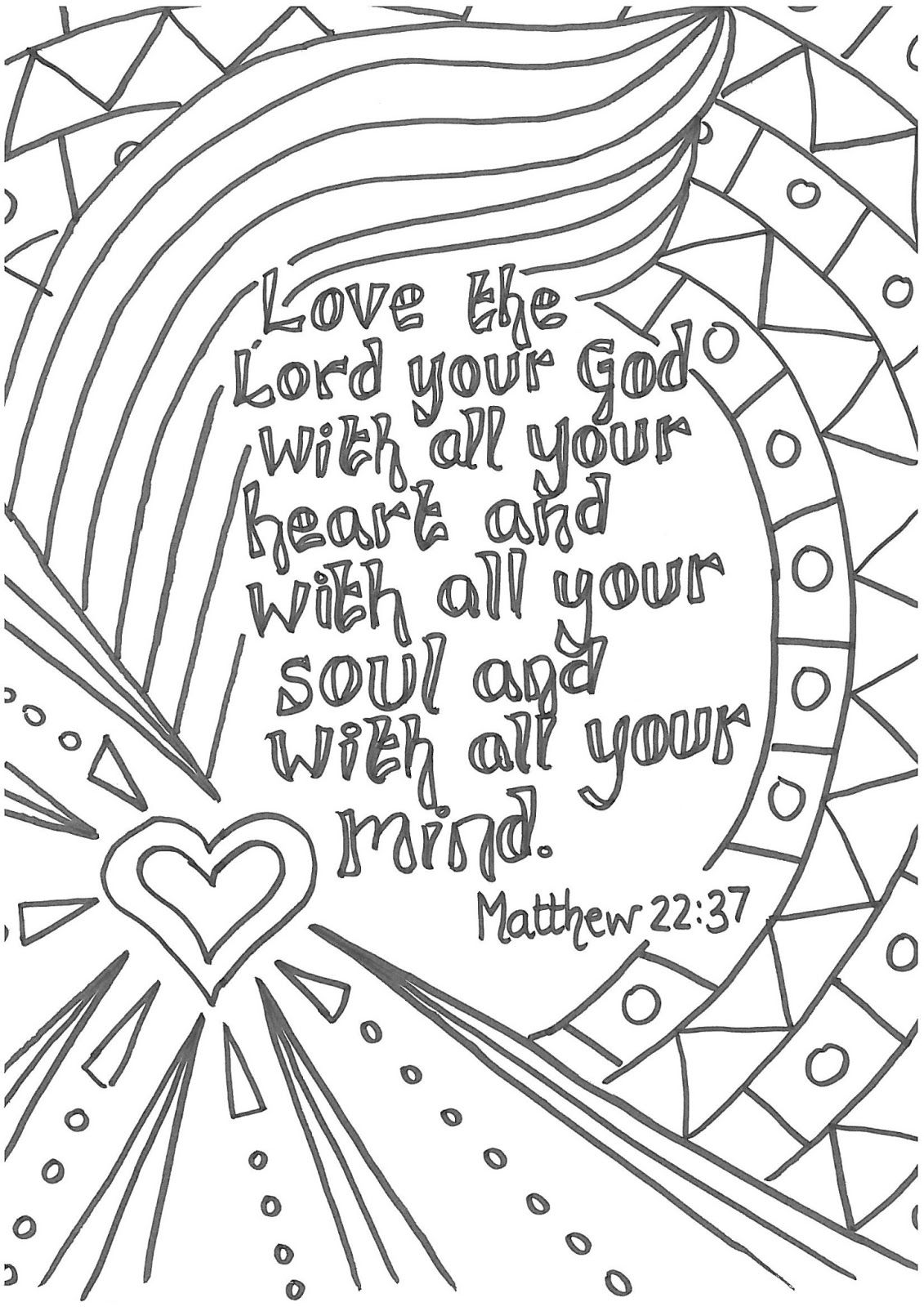 Matt 2237 Love The Lord Your God With All Heart Printable Prayers To Color Kids Description From