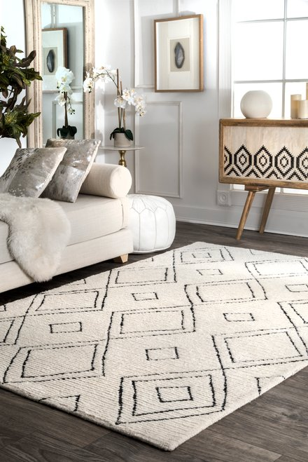 Vega Moroccan Diamond Wool Natural Rug Rugs In Living Room Contemporary Home Decor Home Decor