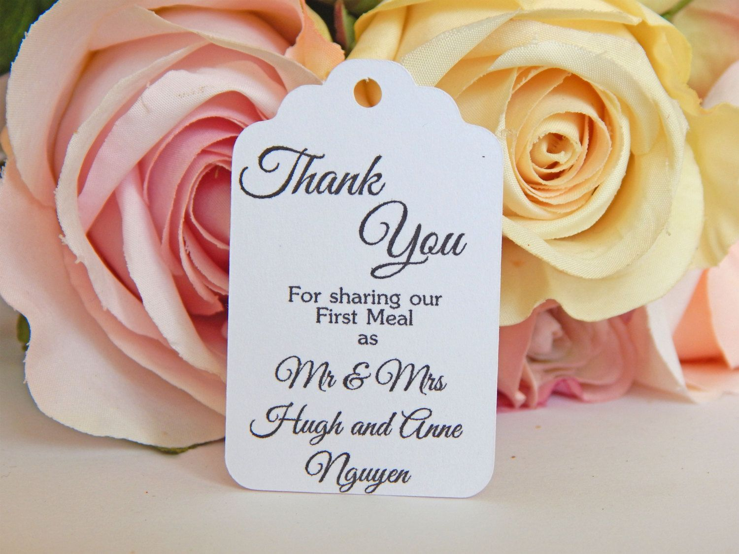 Wedding Tags That Read Thank You For Sharing Our First Meal As Mr Mrs