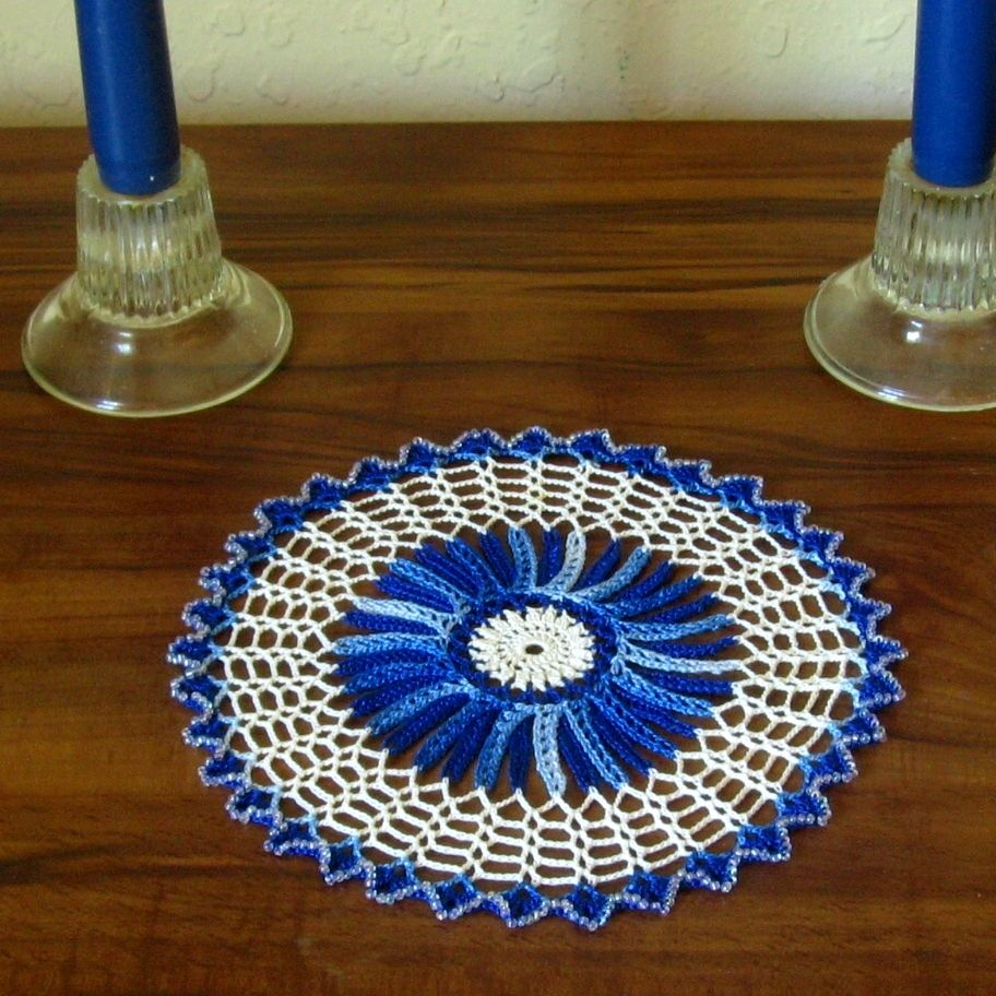 Holiday Crystal Beaded Blue & White Mat - Handmade Decor by RSS Designs In Fiber @rssdesignsfiber
