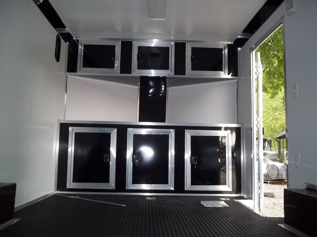 Base And Overhead Cabinets Inside Enclosed Trailer 8 5 X 16 With V